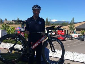 """Landau's bicycle was """"race ready"""" thanks to the expert mechanics at the Green Lizard Bike Shop in Herndon & the folks at Race Day Transport. (Note the snow-capped peaks in the background !)"""