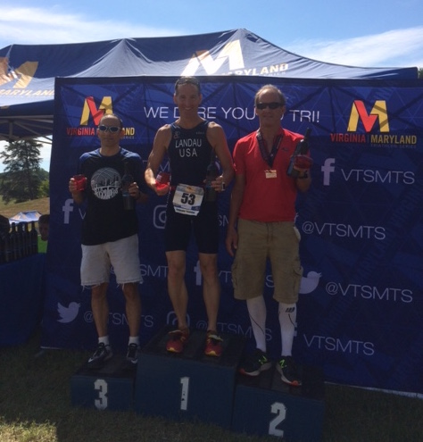 With wine from Mountain Lake vineyards, Doug Landau made the podium despite injury at the Culpeper Virginia Sprint Triathlon