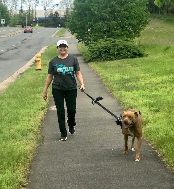 Beatriz walks her dog