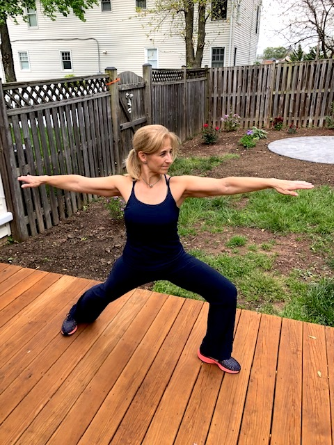 Lisa doing yoga
