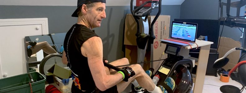 Doug Landau working out at home