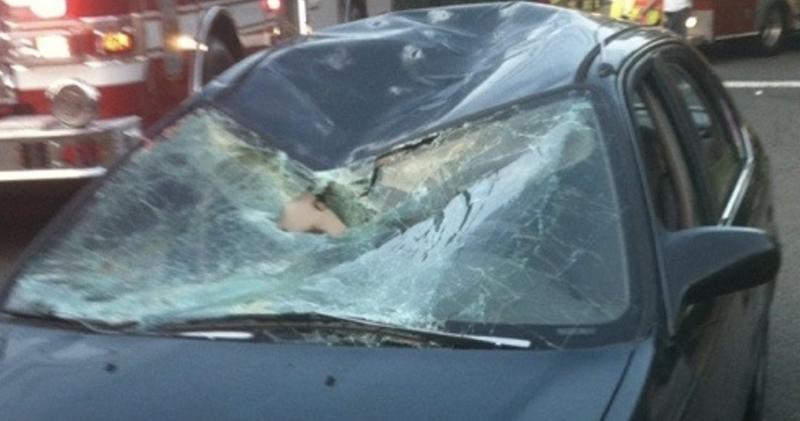 car smashed by bike