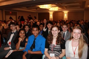 Some of the young scholars from Rachel Carson Middle School at the 2015 We the People competition banquet.