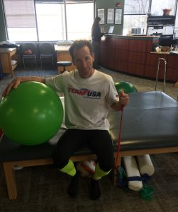"""Doug Landau, who studied with Physical Therapists & Occupational Therapists at Boston University, is shown here after a hard PT workout at Town Center Orthopedics in Reston, Virginia. As he used to say when working with patients, """"If it isn't PHYSICAL, it's not therapy !"""" PT has helped lawyer Landau overcome sports injuries & return to national competition"""