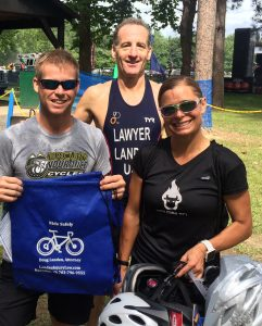 "At the Mid-Atlantic Triathlon Championship, Doug Landau brought helmets & bags to ""Put the Lids on the Kids"" & prevent unnecessary brain injury. However, helmets cannot stop movement inside the brain cavity, and the hard skull can still cause permanent damage from sudden deceleration in a crash with a car or truck."