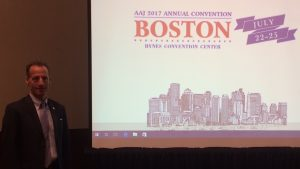 Doug Landau after his presentation on proving injury cases with personal GPS and Fitness Tracking devices at the American Association for Justice annual convention in Boston, Mass. this morning