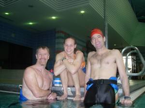 "Rehab to Racing Coach Rob Colburn, Professional Triathlete Margie Shapiro and Triathlon Trial Lawyer Doug Landau at the Herndon COmmunity Center Pool where the boys were running in the water with their ""aqua joggers"" and Mrs. Shapiro was tearing up the lap lane !"