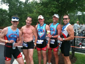 Th Tri Performance Team swept the top 3 places at the Infinitive Triathlon Championship Series race in Boradlands, Virginia.  Winner Doug Steele (far left) was closely followed by the McAllister father & son team.
