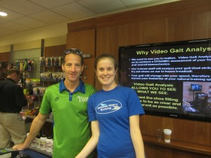 Potomac River Running supports local runners.  Reston Toen Center store associate Holden and lawyer Landau discuss upcoming road races.