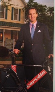 """Doug Landau's """"Washington DC & Baltimore's Top Rated Lawyers"""" photograph from the Washington Post features the Herndon Reston trial lawyer with his trusted Cervelo P3 carbon racing bike, which pre-dates this recent recall."""