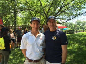 Race director Doug Bushee and Reston injury lawyer Doug Landau at packet pick up for the annual Reston sprint triathlon