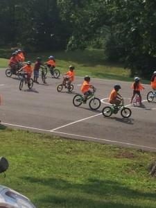 Kids biking on blacktop at Guilford Elementary School