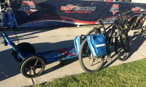 USAT race organizers were ready with EMTs equipped with Electric bikes and stretchers in case of injuries caused by treacherous winds, steep descents and/or altitude.