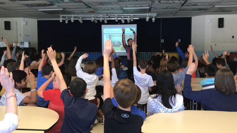doug landau at clearview elementary school for lids on kids brain injury prevention and helmet giveaway program